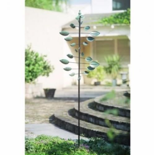 Garden Wind Spinner Kinetic Sculpture Green Leaf Garden Windmill ...