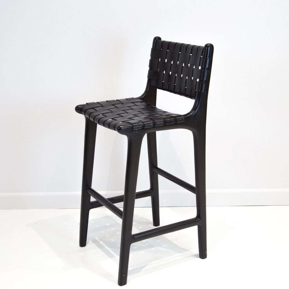 Custom Black Leather Weave Bar Stool With Back Woven