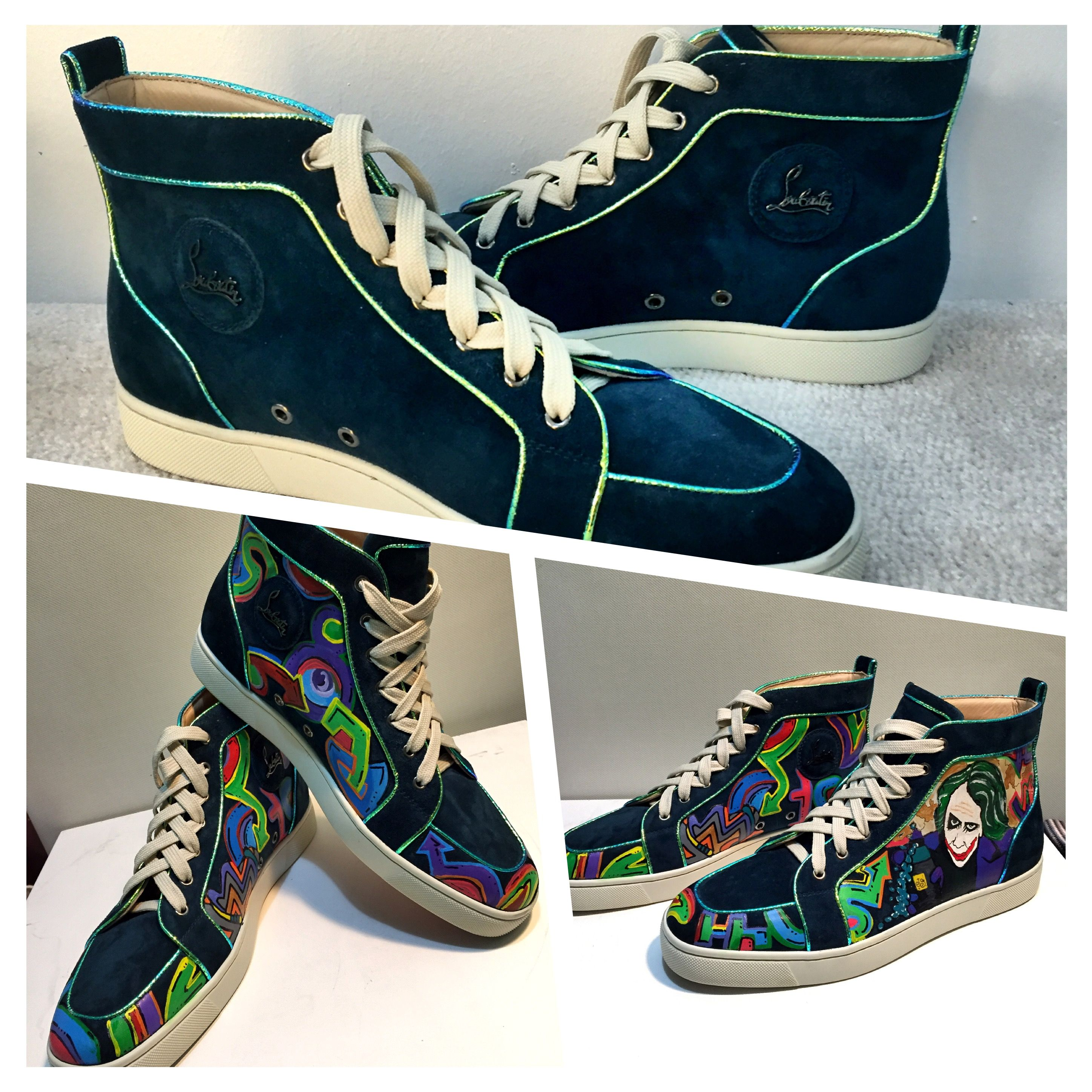 6bc647731c3 Christian Louboutin Customized shoes.. Street art inspired with joker and  clown.