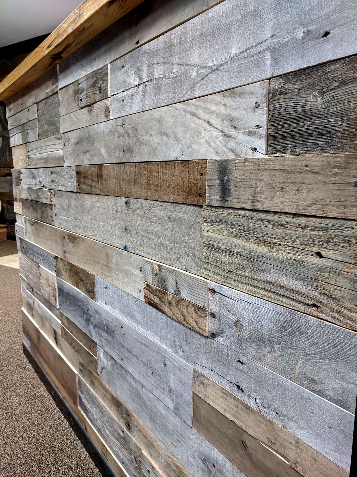 Pre Fab Wood Wall Panels Reclaimed Pallet Wood Paneling In 2020 Reclaimed Wood Wall Panels Reclaimed Wood Bars Wood Panel Walls