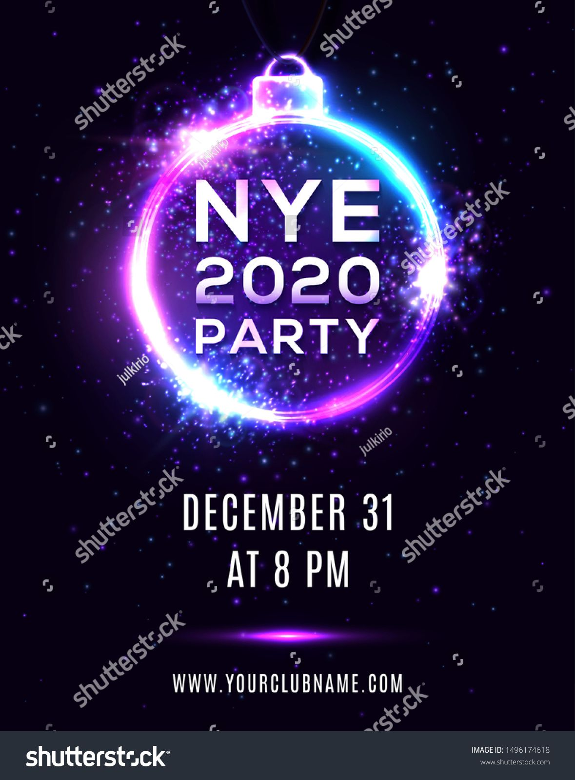 New Year Eve 2020 party poster on dark blue background