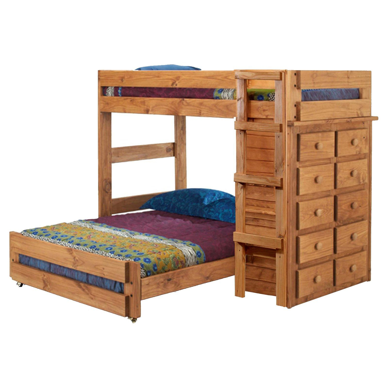 Chelsea Home Twin Over Full Loft Bed With 10 Drawer Chest Ginger Stain Www Hayneedle Com Bunk Bed Designs Bunk Beds Bunk Beds With Drawers