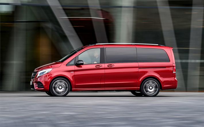 download wallpapers mercedes benz v class 2017 new minivans red v class german cars 4k. Black Bedroom Furniture Sets. Home Design Ideas