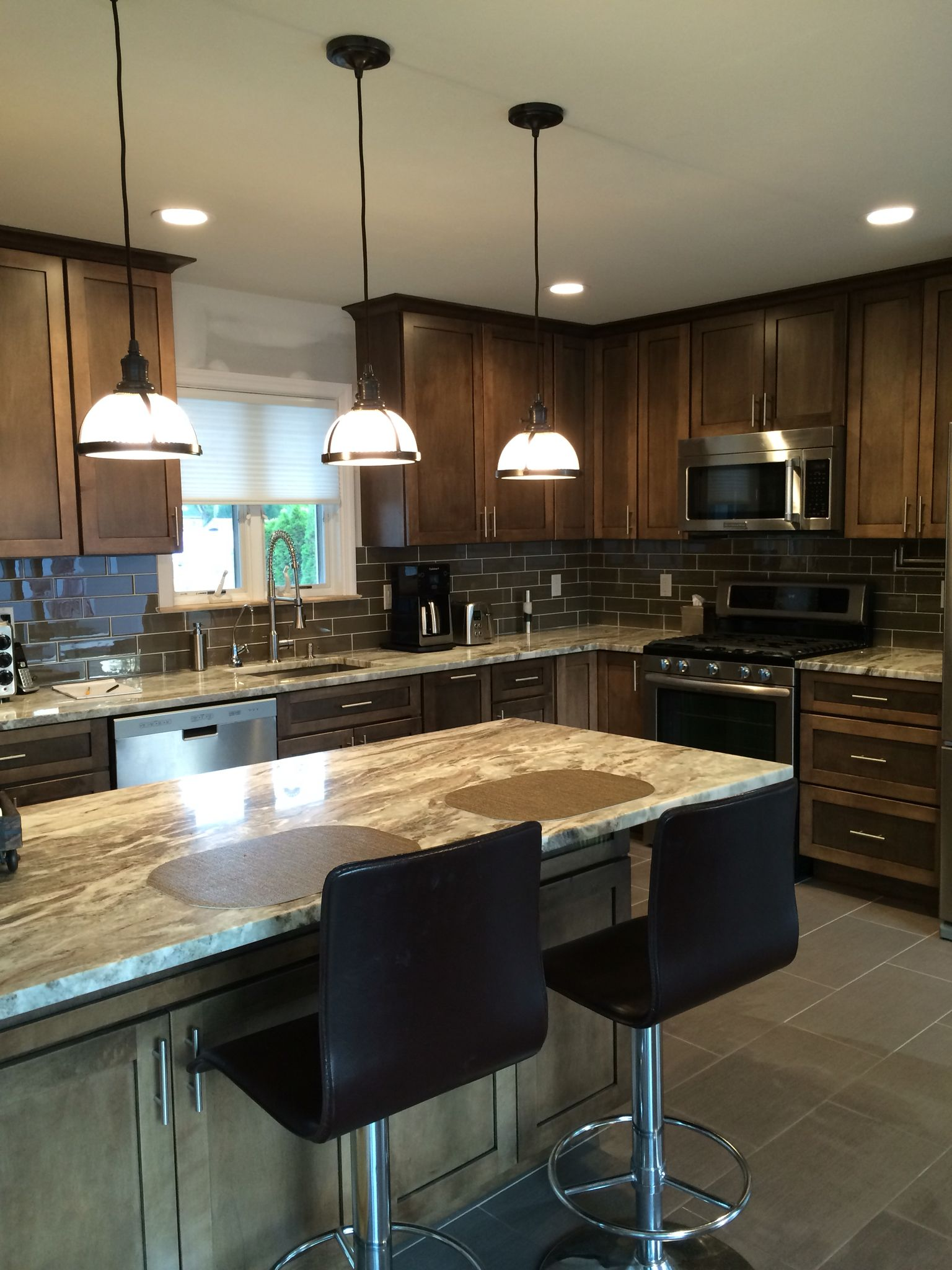 Cabinets Yorktowne Shaw Eagle Rock Sable Stain Countertop Terra Bianca Backsplash Tile Shop Halsted Cabinets To Go Home Decor Home
