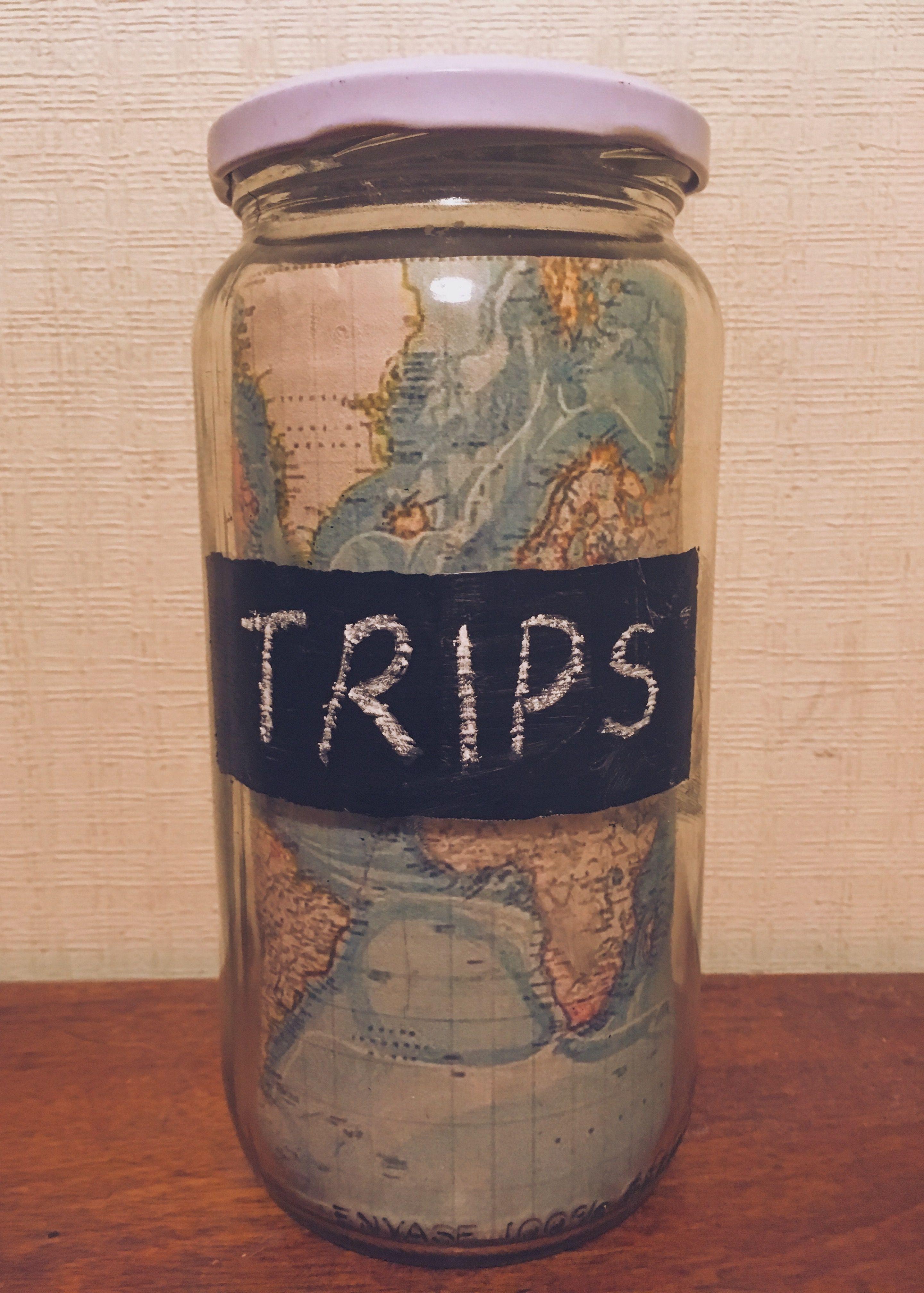 Saving Money For Future Trips Diy Piggybank Moneysave Jar Trips Map Travel Moneysaving Masonjar Chalkboardpain Savings Jar Diy And Crafts Mason Jars