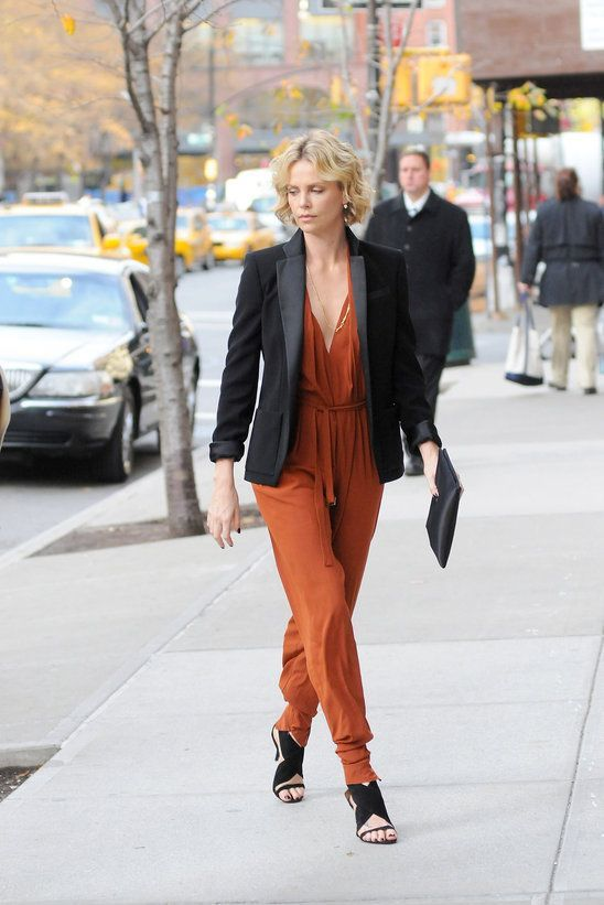 charlize therone jumpsuit and blazer