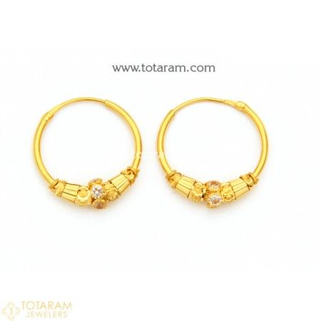 22k Gold Hoop Earrings Ear Bali With Cz 235 Ger7625 This Latest Indian Jewelry Design In 2 850 Grams For A Low Price Of 193 80