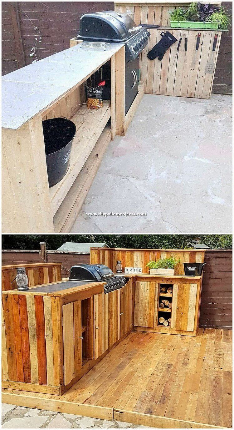 Wood Pallet Has Constantly Made Itself One Of The Remaining First Options As Acting In The Range Of Th Diy Outdoor Kitchen Pallet Outdoor Outdoor Kitchen Decor