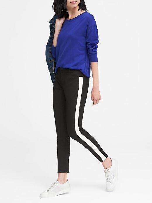 2c4fec6787f Banana Republic Womens Petite Sloan Skinny-Fit Side-Stripe Ankle Pant Black  With White Stripe