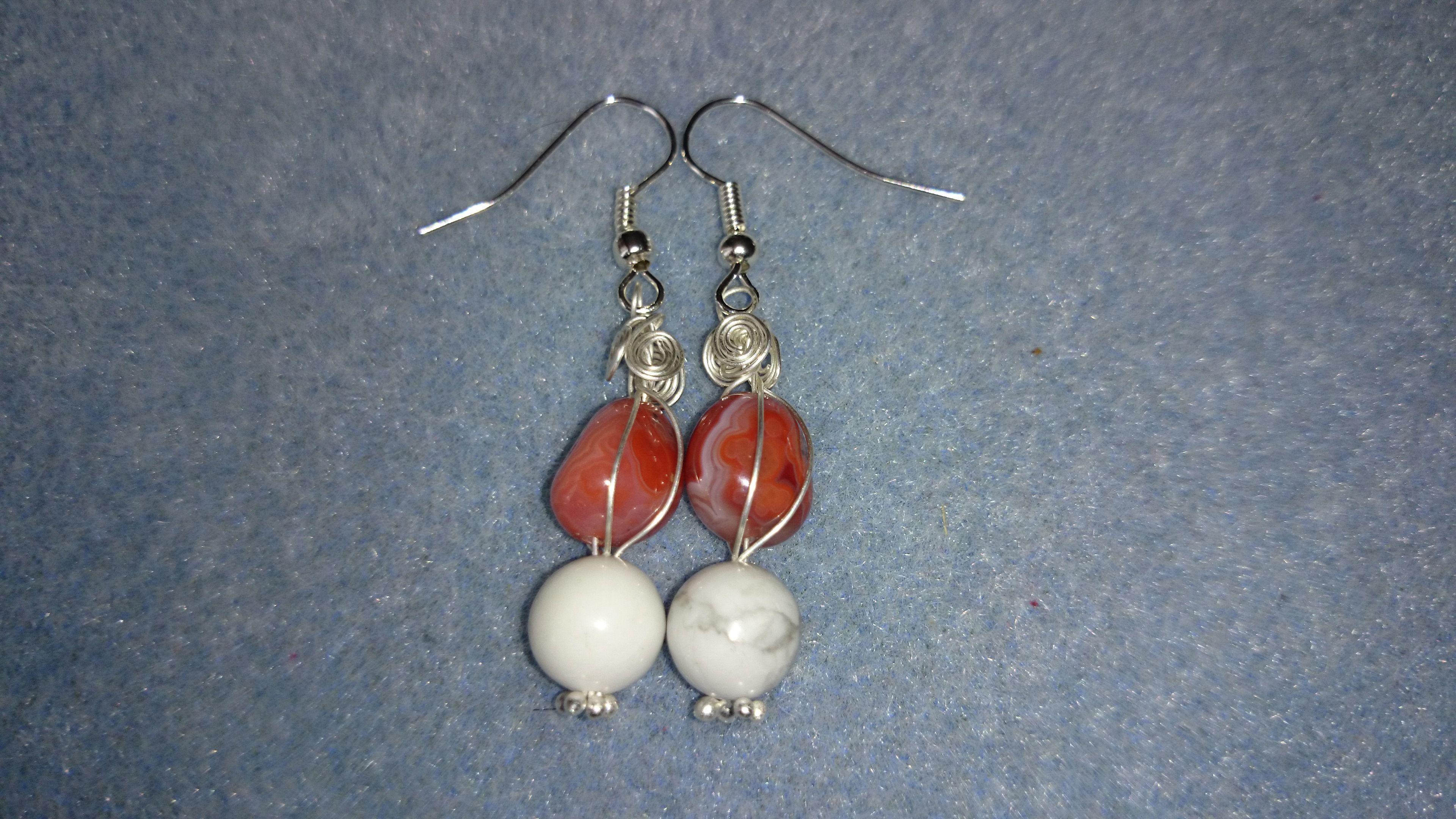 Burnt orange agate and white magnesite wire wrapped earrings www.facebook.com/KimsGlitteringGems