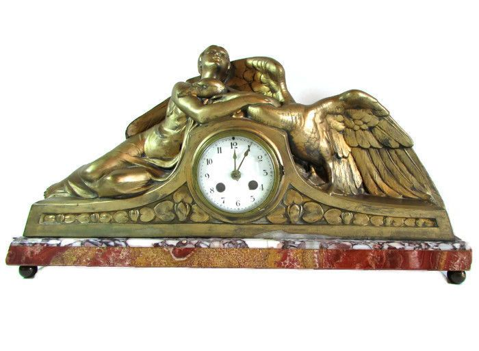 1920's Art Deco French P. Sega Spelter Mantle Clock Marble Base Woman Goose  #PIERRESEGA