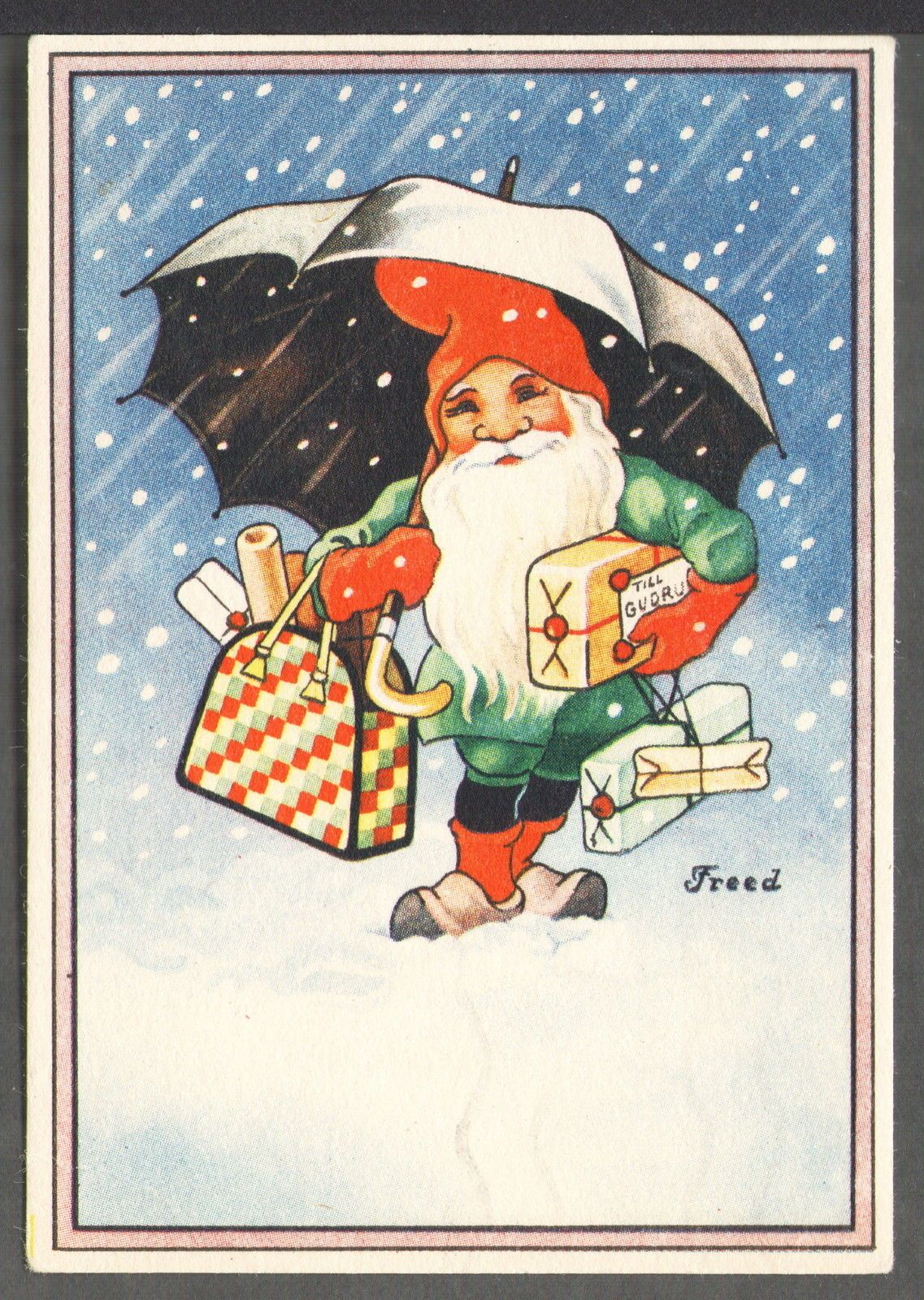 Signed Freed Swedish Miniature Postcard Tomte or Swedish Santa Carries Presents | eBay