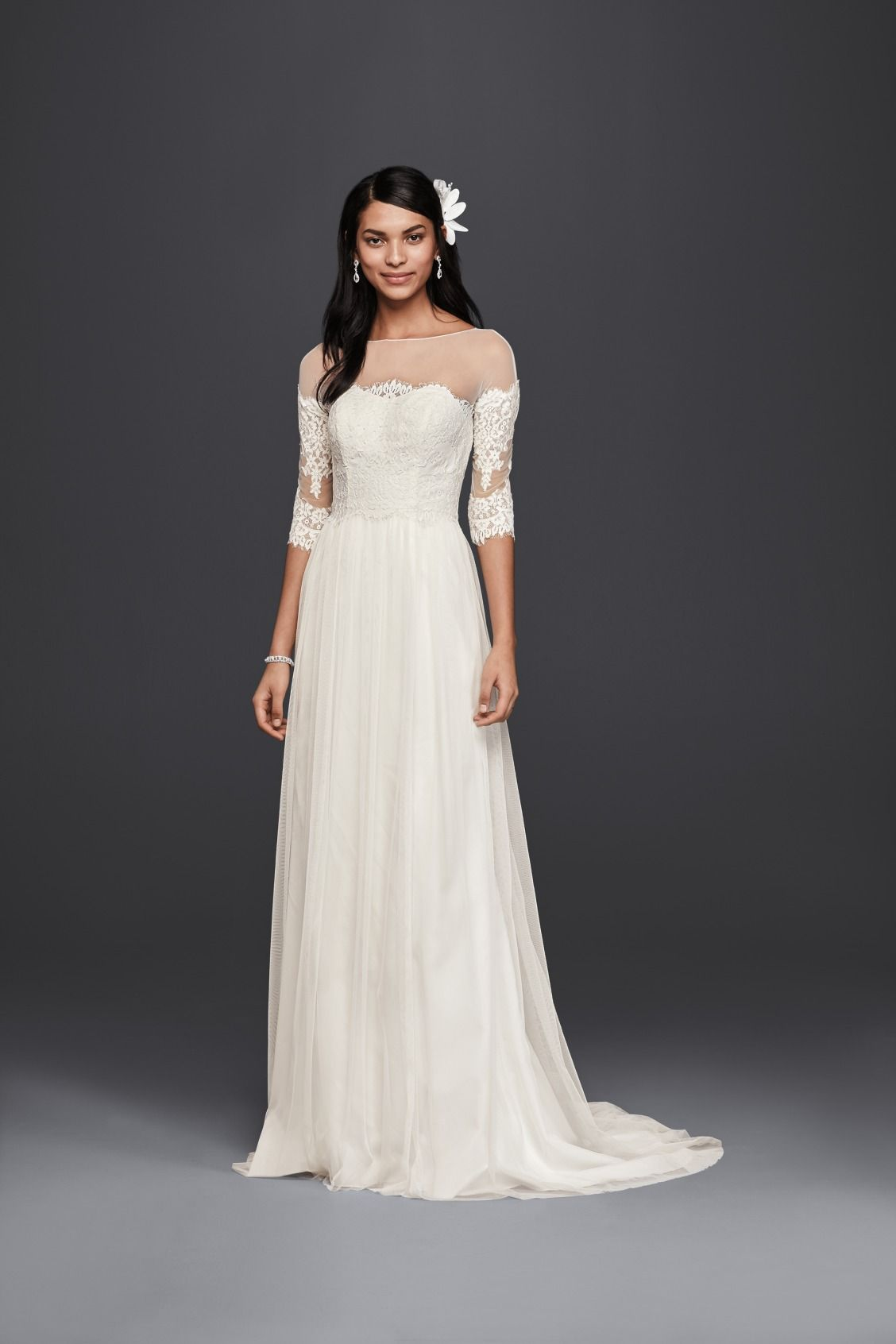 FOR THE VINTAGE BRIDE: Illusion Neckline and Lace Sleeves A-Line ...
