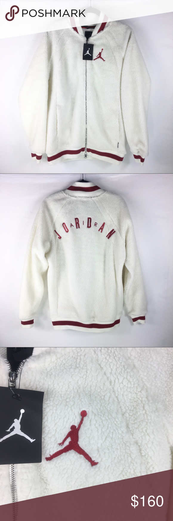 new concept d172e 28fef Nike Air Jordan Shearling AJ1 Fleece Jacket Nike Air Jordan Shearling AJ1  Fleece Jacket Size Medium AH9748-133 New Actual Measurements  are aimed to  help ...