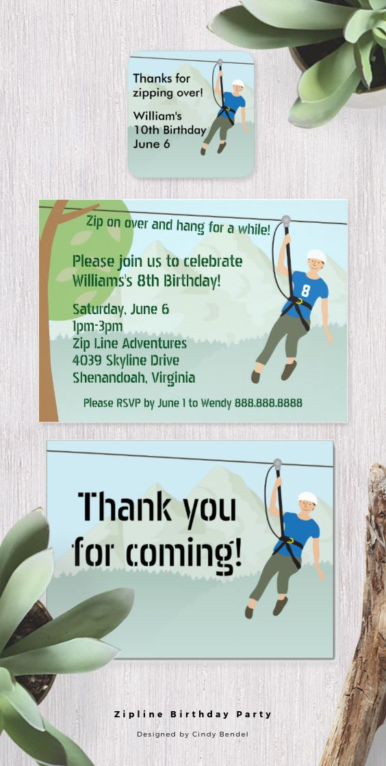 Zip line lining birthday party invitations favor stickers and zipline birthday party stopboris Gallery