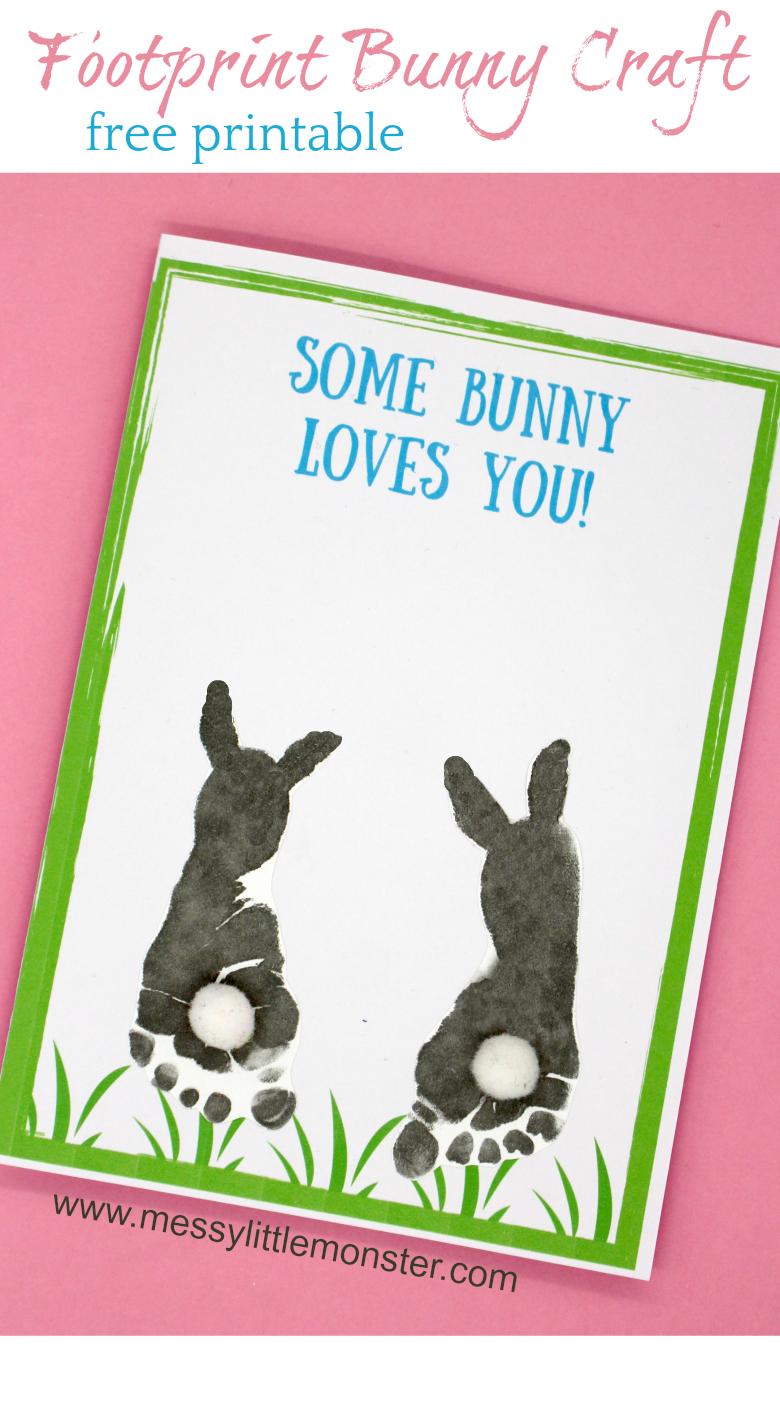 baby art #baby Some bunny loves you! Make a footprint bunny craft with your baby or toddler using our free printable keepsake card. Great for Mothers Day, Fathers Day, Valentines day or Easter.