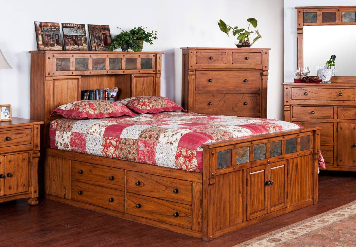Sedona Rustic Oak Wood Cal King Storage Bed w/Slate King