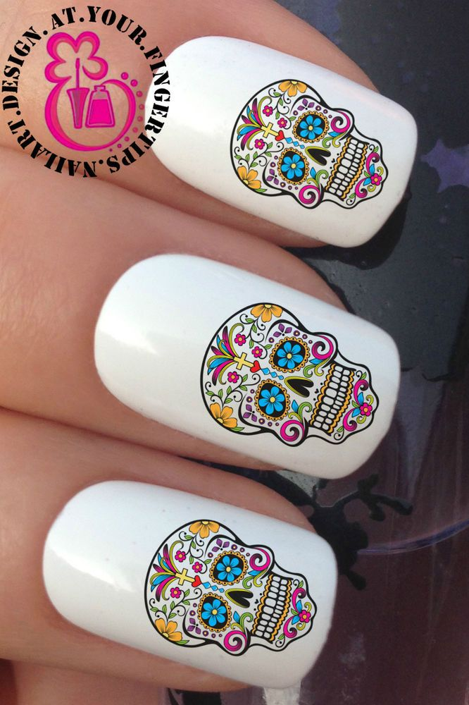 Nail Art Wraps Water Transfers Stickers Decals Sugar Skull Day Of