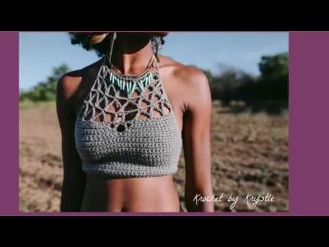 Como Tejer Un Halter Crop Top A Crochet 1 De 2 Tutorial Paso A