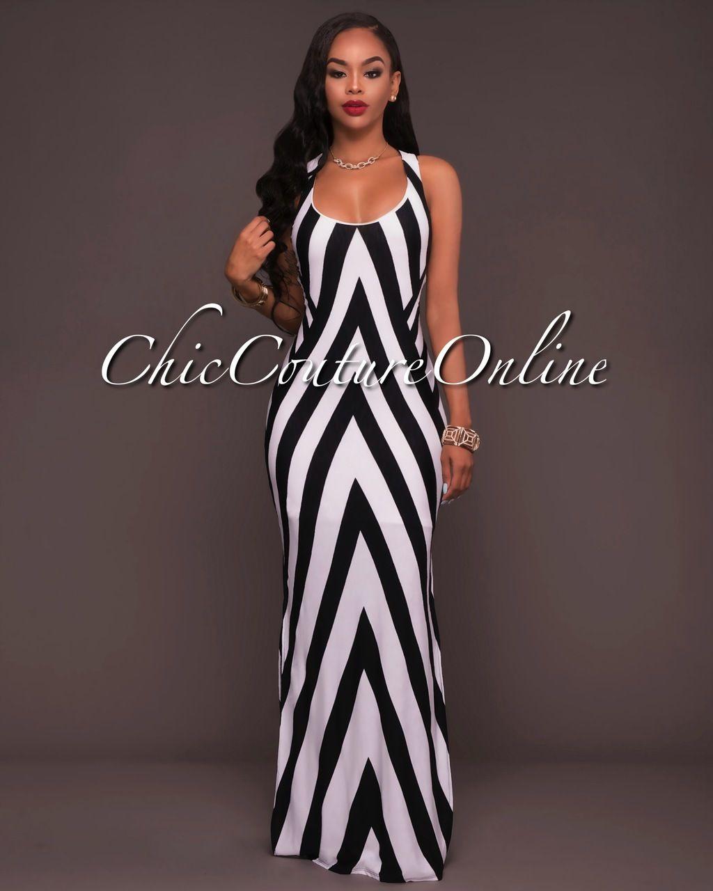 Chic Couture Online - Hattie Black White Stripes Cut-Out Back Maxi ...