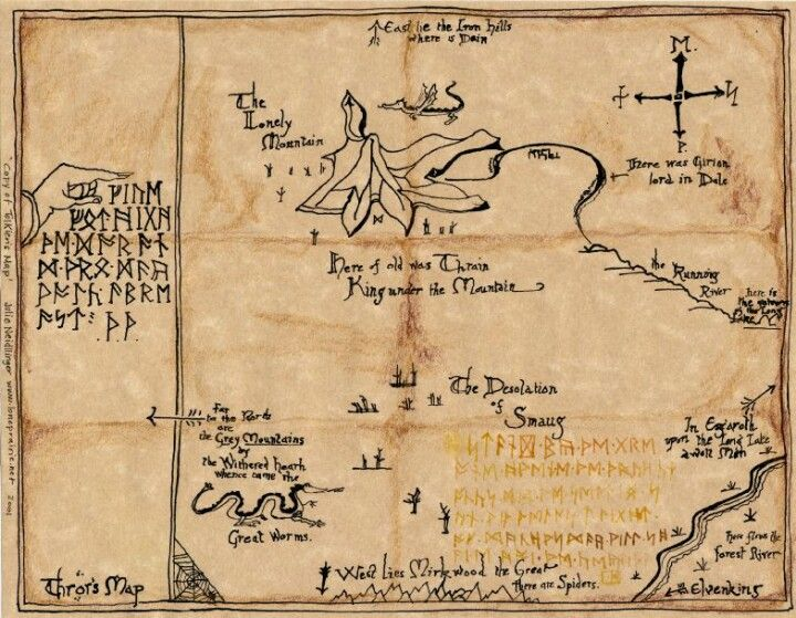 Map of the Lonely Mountain and secret door into Erebor  All