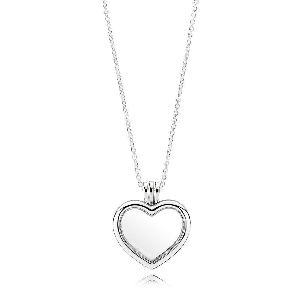 Pandora Floating Heart Locket Sapphire Crystal Glass Amp Clear Cz Medallón De Corazón Collar De Pandora Joyería De Pandora
