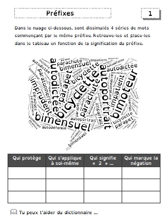 exercices sur les préfixes et les suffixes - De deux ...