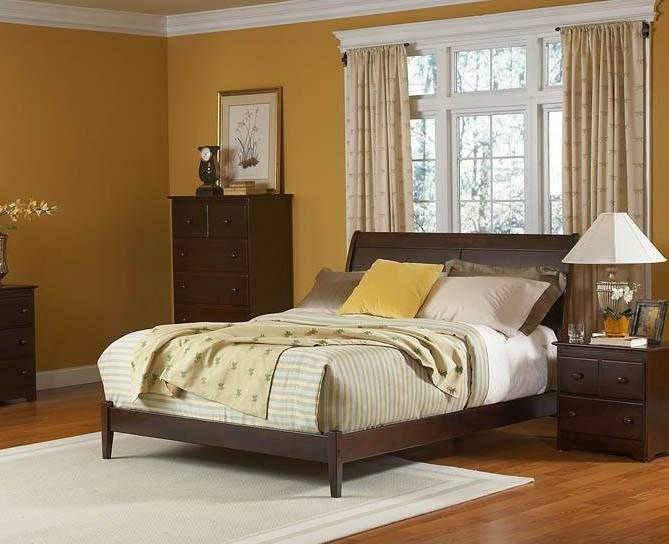 Bordeaux Antique Walnut Queen Bed w/Open Foot Rail | Atlantic ...