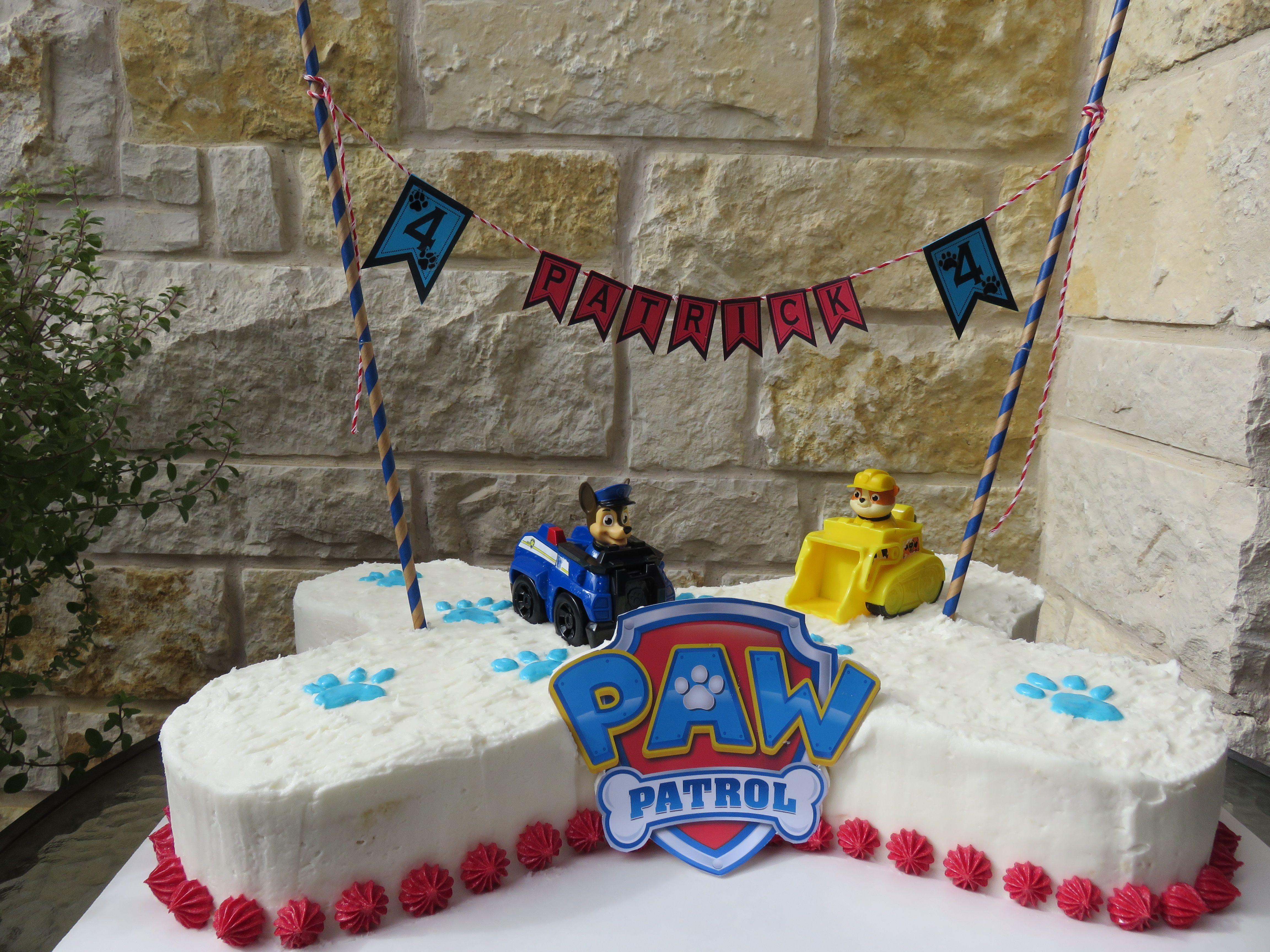 Paw Patrol Birthday Cake For 4 Year Old Boy Bone Shaped Paw Patrol Birthday Cake Boy Birthday Parties Paw Patrol Cake