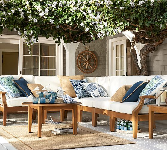 Pottery Barn Teak Furniture: Love The Color Combo. Hampstead Teak Sectional Set