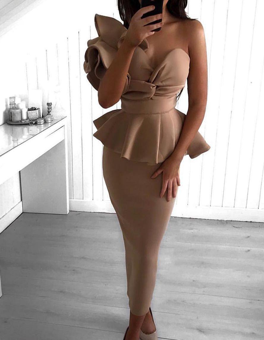 f5baf91b840a Misstook Darla Ruffle Nude Dress. Best Evening Dress From Los Angeles. Shop  Dresses Online