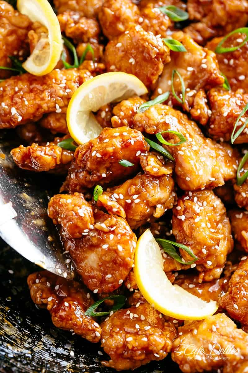 Chinese Lemon Chicken with an irresistibly STICKY Chinese ...