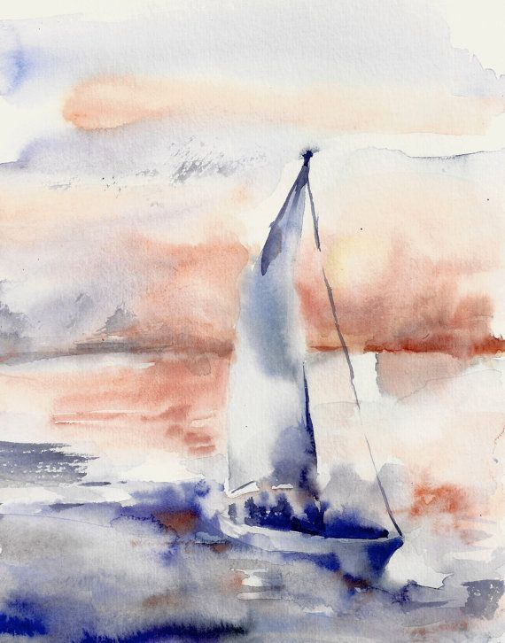 Seascape With Boat Watercolor Painting Art Print Nautical Sea