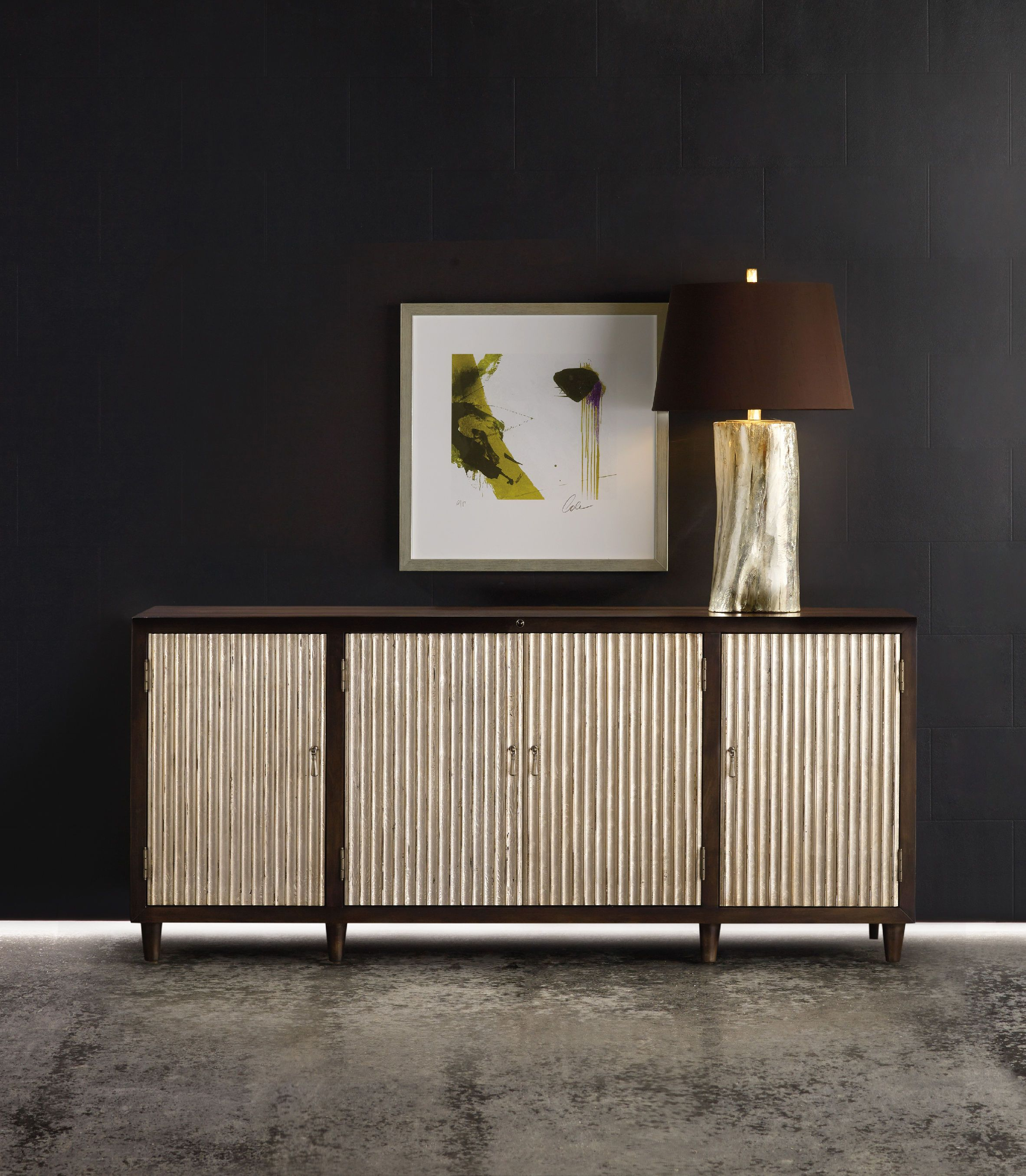 The melange manhattan entertainment console features ribbed doors