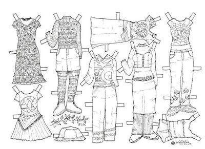 Karen`s Paper Dolls: Pia 1-3 Paper Doll to Colour. Pia 1-3 påklædningsdukke til…