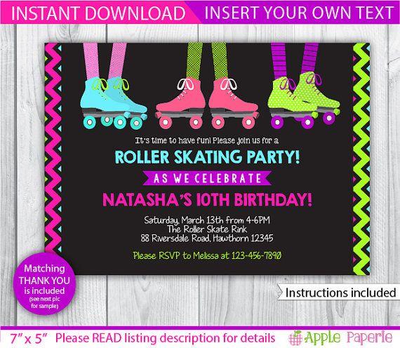 Roller skating birthday party roller skate invitation roller roller skating birthday party roller skate invitation roller skating invitation roller skate invite roller skating invite instant stopboris Gallery