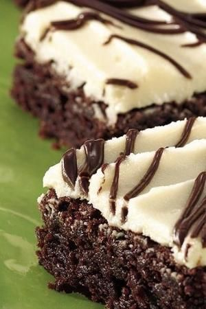 Frosted Irish Cream Brownies Recipe ~ Let creamy liqueur turn packaged brownie mix into sophisticated treats with semisweet chocolate glaze.