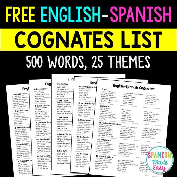 Free English-Spanish Cognates List | Spanish lessons | Pinterest