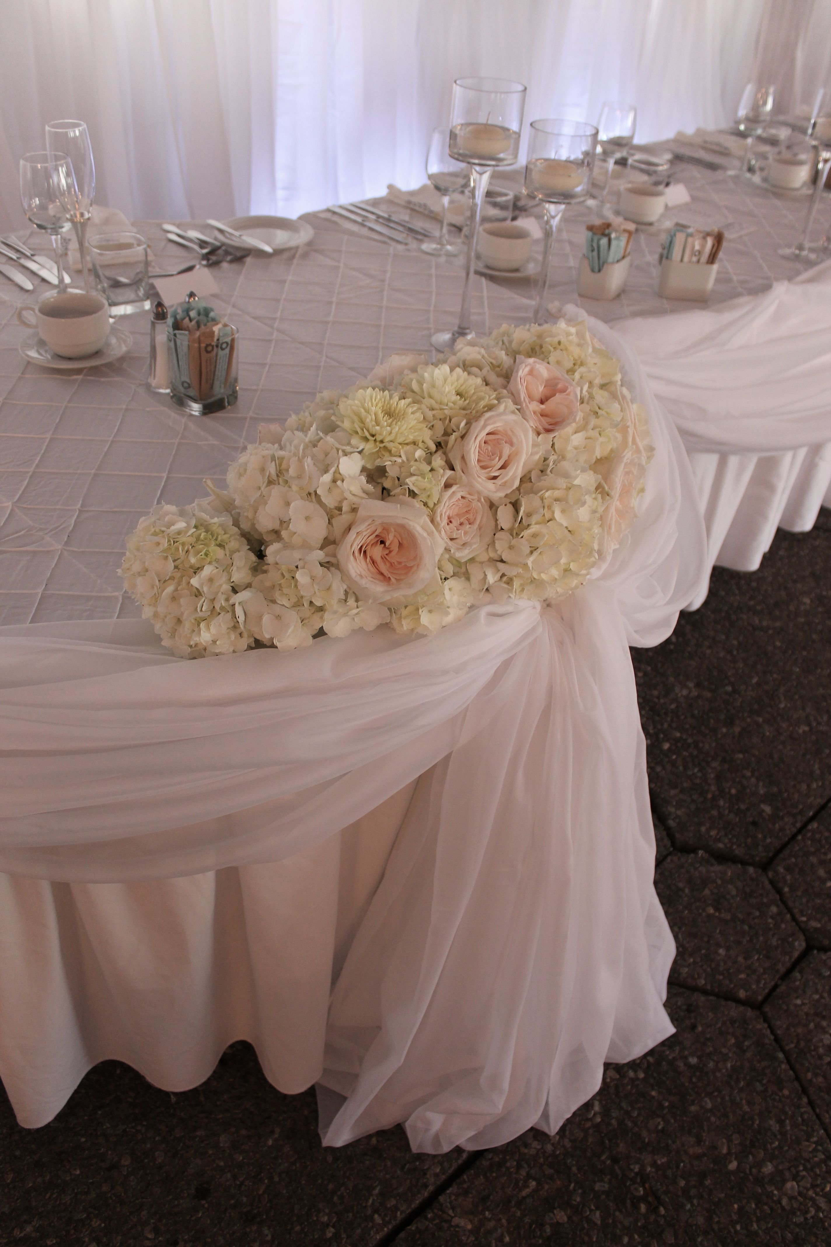 Head Table Draping And Floral Piece Head Table Roses Hydrangea Decor Wedding By Sage Designs