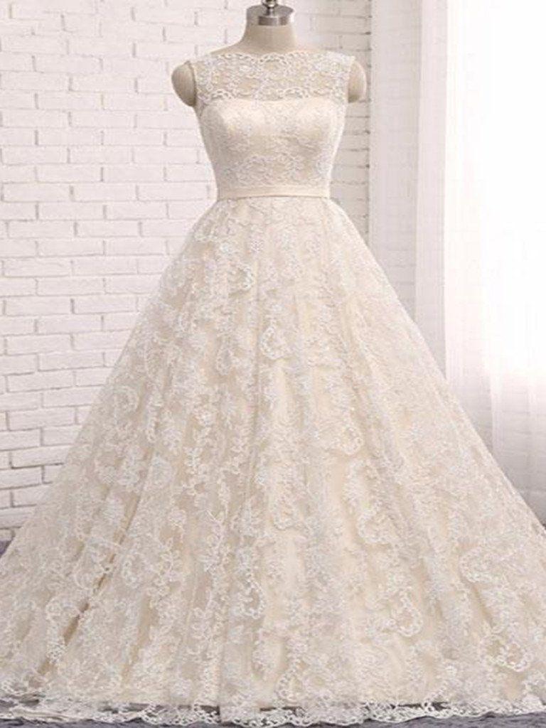 Open back wedding dresses romantic ball gown long train beautiful
