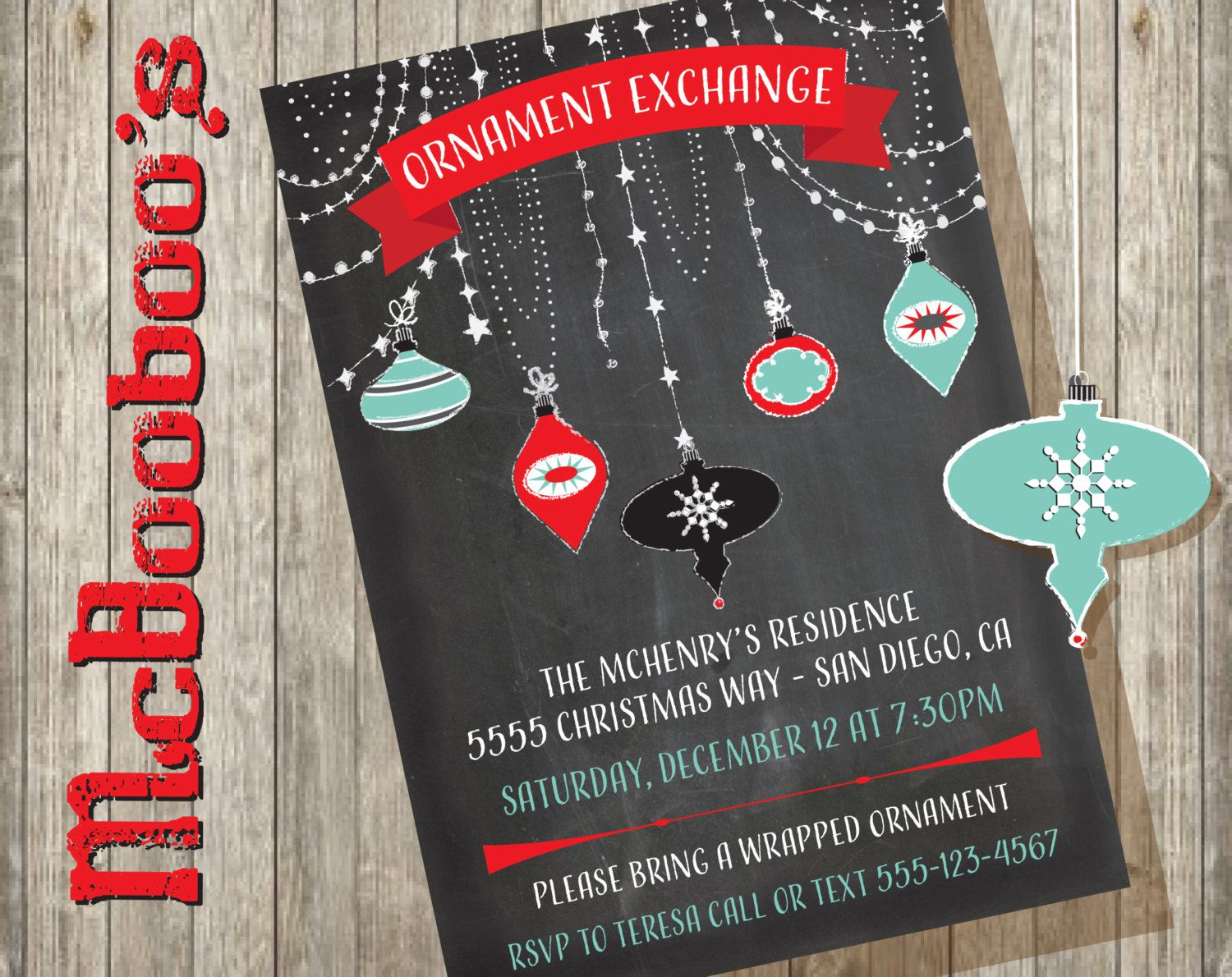 097d224e3c Pretty Chalkboard Ornament Exchange Invitation by McBooboos on Etsy. Christmas  InvitationsChalkboardChristmas ...