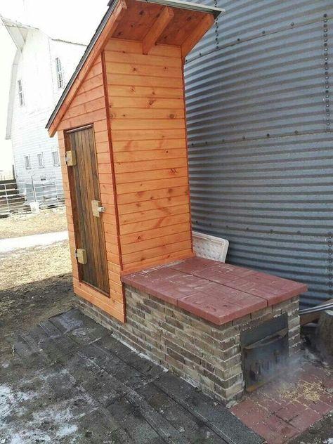 Smokehouse … | Smoke house diy, Smokehouse, Diy outdoor space