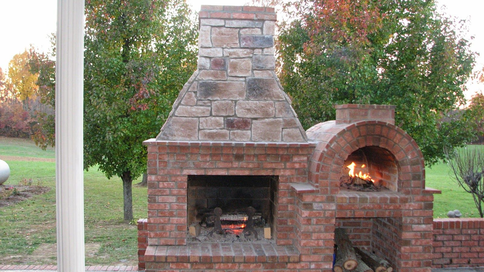 outdoor brick oven fireplace