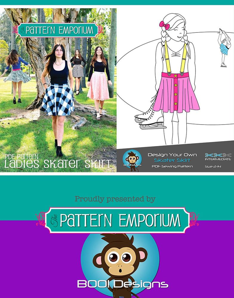 Skater Skirt Bundle Boo Designs Girls Pattern Emporium Ladies