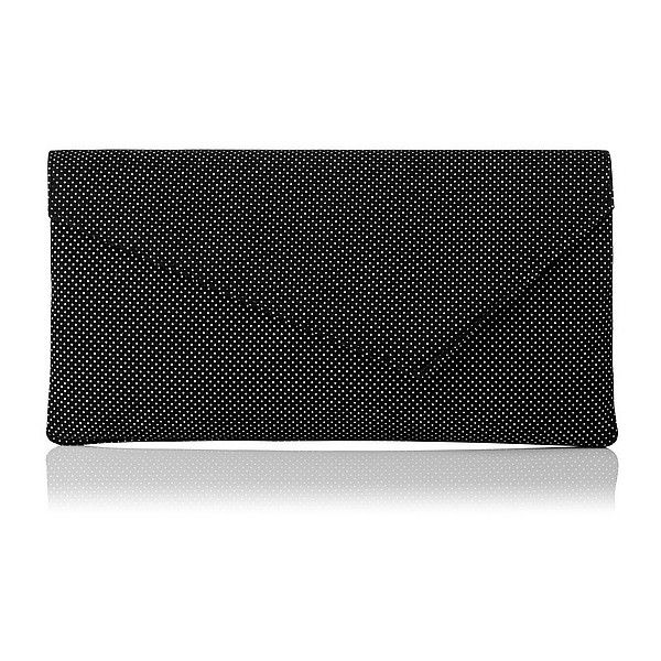 L.K. Bennett Leonie Printed Suede Asymetric Clutch (£145) ❤ liked on Polyvore featuring bags, handbags, clutches, black suede purse, polka dot handbag, black suede handbag, l.k.bennett and black handbags