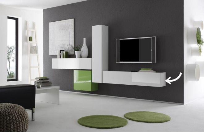 elément mural tv colored horizontal ou vertical laqué blanc | zoom ... - Meuble Tele Mural Design