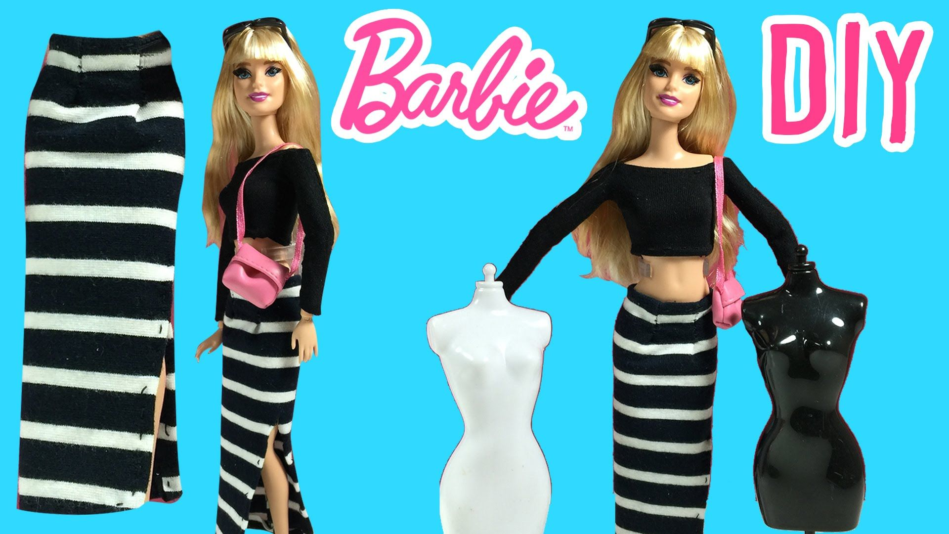 DIY How to Make Barbie Doll Long Skirt Barbie Clothes