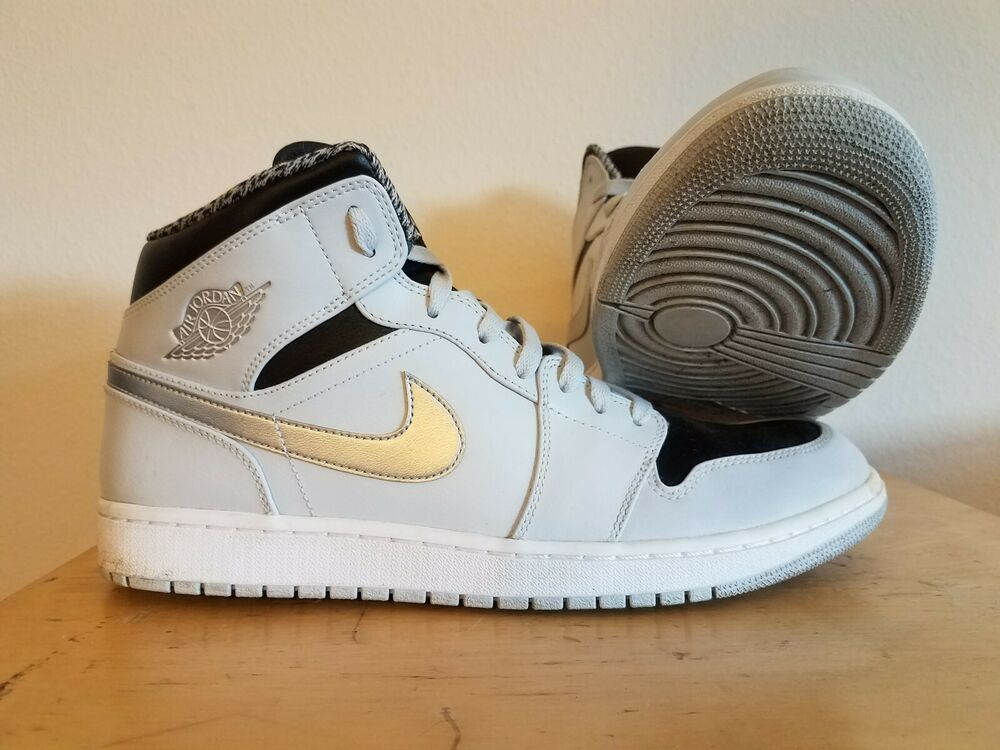 b96cd55aa7d NIKE MEN'S AIR JORDAN RETRO 1 MID PURE PLATINUM SNEAKERS - SIZE 13 ...