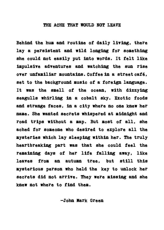 Home Decor - Poetry Print Wall Decor - The Ache Th