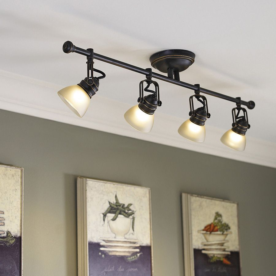 Shop Allen Roth Tucana 4 Light Oil Rubbed Bronze Dimmable Fixed Track Light Kit At